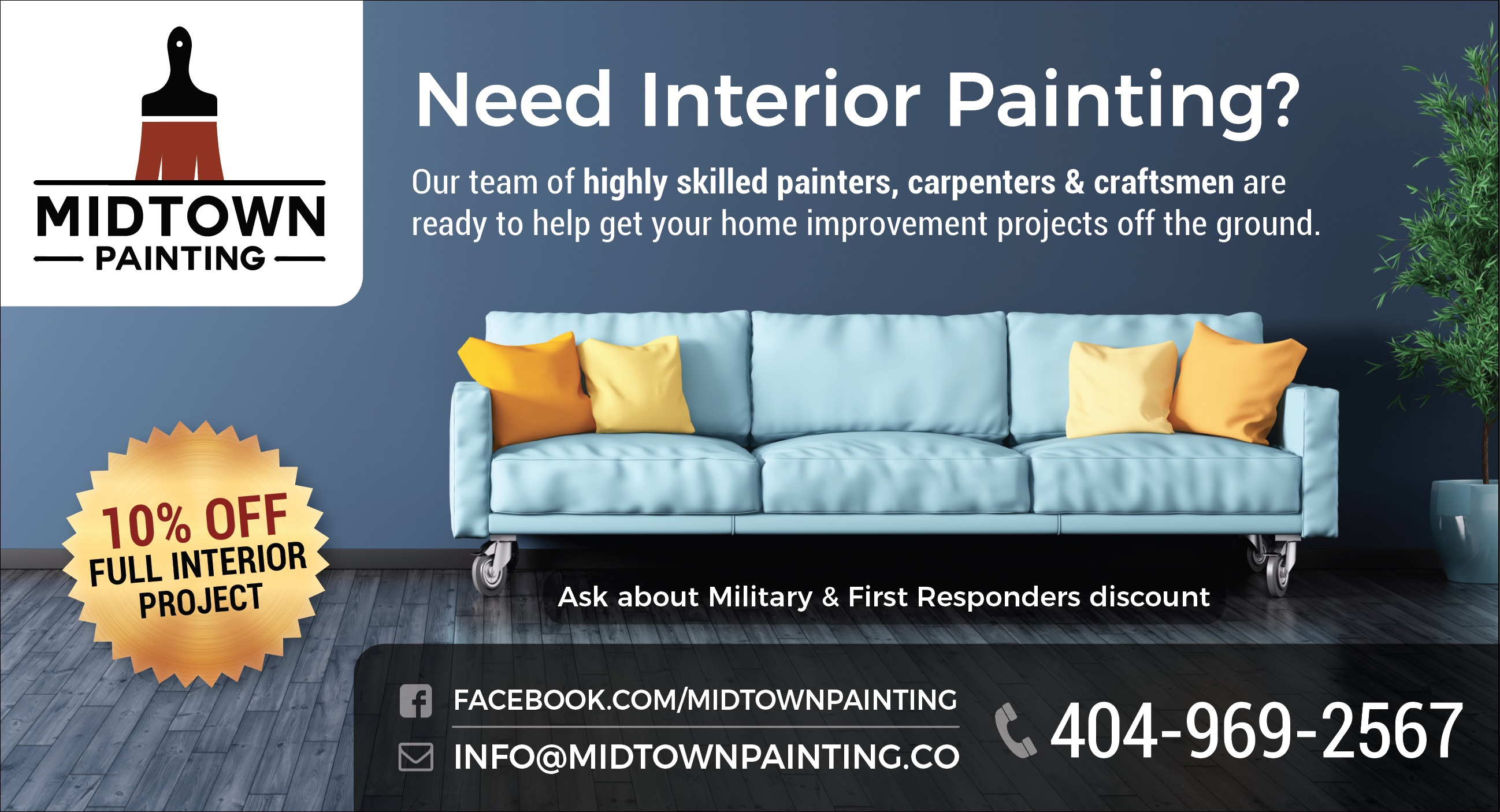10% Off Any Full Interior Painting Project From Midtown Painting